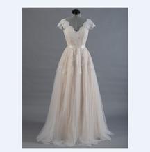 Vestido де novia Кружева-Линии Свадебное платье Cap рукавом V назад Свадебное платье Кружева с Тюль