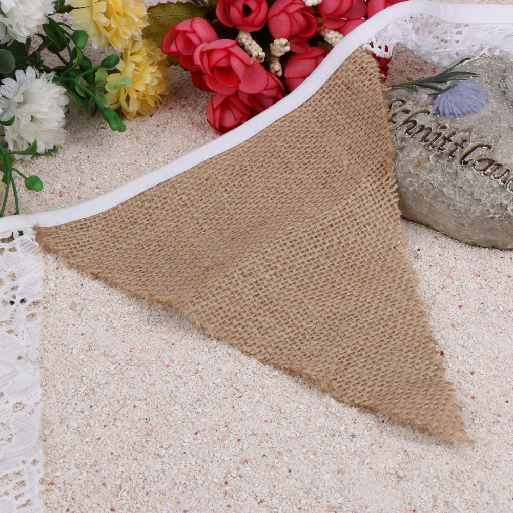 2.8m 12 Flags Lace + Linen Flags Banner Bunting Pennant Wedding Decoration Vintage Baby Birthday Decorations