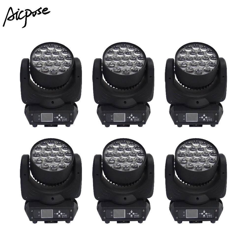 Fast Deliver 6pcs/lots 19x15w Zoom Light 19*15w Moving Head Light Wall Washer Light With Circle Control Function Effect Stage Light To Adopt Advanced Technology Commercial Lighting