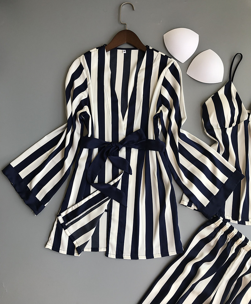 Lisacmvpnel 3 Pcs Striped Sexy Women Pajama Sets Nightdress+Robe+Pant Female Pajamas 52