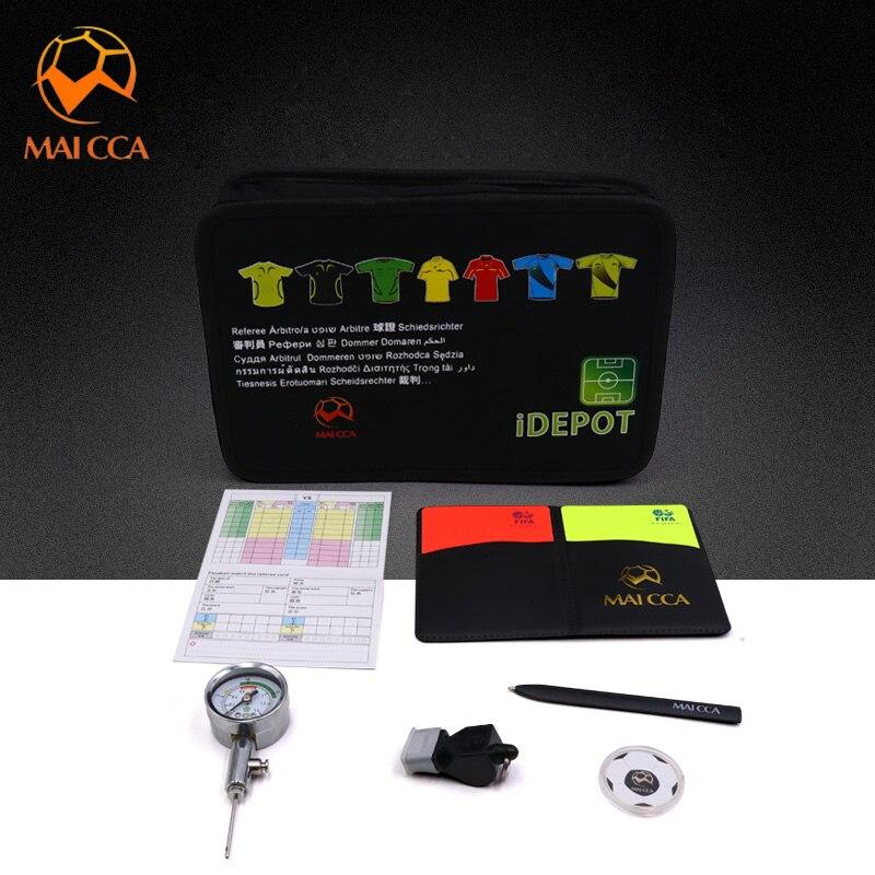 Sac d'arbitre de Football professionnel avec sifflet cartes jaunes rouges Pick Edge jeu de portefeuille de Football baromètre Kits pour arbitre