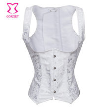 CORZZET Vintage Underbust Corset Vest Steel Boned Gothic Steampunk Clothing Brocade Corsets Bustier Waist Cincher Corselet(China)