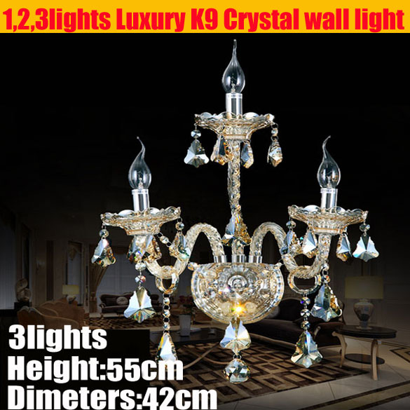 New Arrived Living Room Wall Light Luxury Crystal Bracket Lamp With E27 Led Bulbs For Bedroom