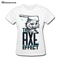 Women T Shirts Short Sleeve 100 Cotton Knife Cut Skull The Axe Effect Letters Printed Brand