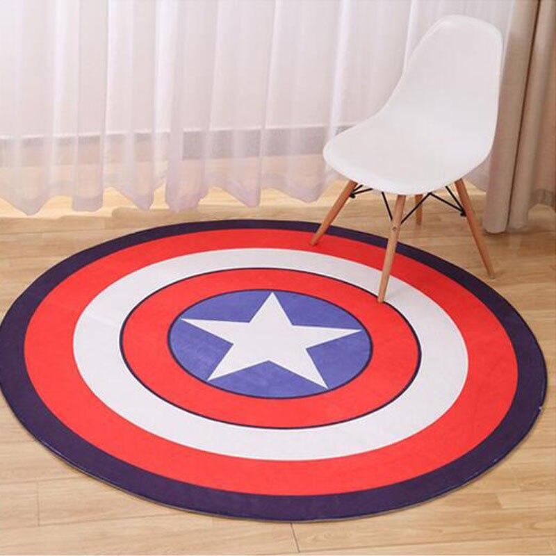 Size 60 60 80 80cm Cartoon Round Carpet For Living Room Non Slip Kids Room Rugs Captain America Bedroom Tatami Mat Free Shipping
