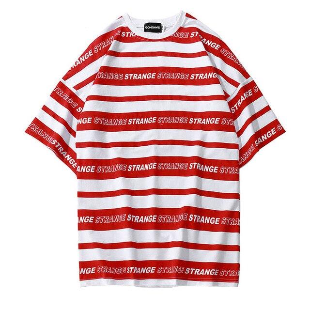 6322f7cb052f67 White Black Red Striped T-Shirt Men Strange Printed Streetwear Mens T Shirts  Hipster Summer Tops Tees Stripe Hip Hop Clothing