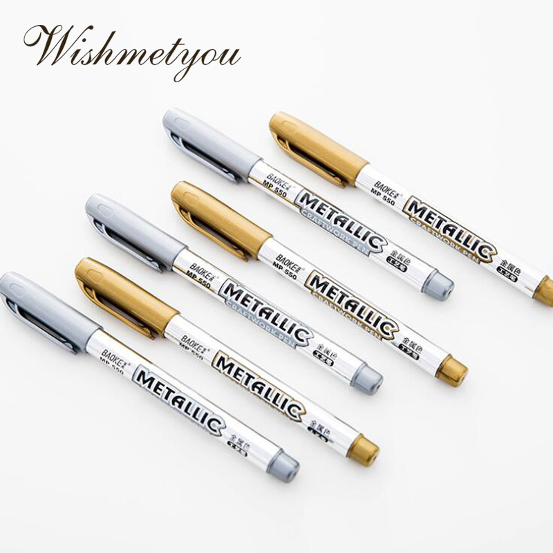 WISHMETYOU Gold Silver Color Wedding Decorations Signature Pen Party In And Out Sign In To Pen Label Album Party Marker Pen Tool in Party DIY Decorations from Home Garden