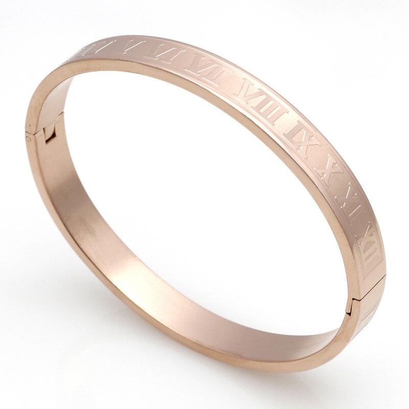 Для мужчин и Для женщин Нержавеющаясталь позолота Пары Браслет Вырезка римскими цифрами любовник манжеты браслет свадебные украшения