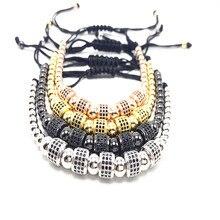 1 unids top brand men pulsera de cuentas micro pave cz negro hombres mujer reloj pulsera macrame del trenzado salvaje joyas personalizadas