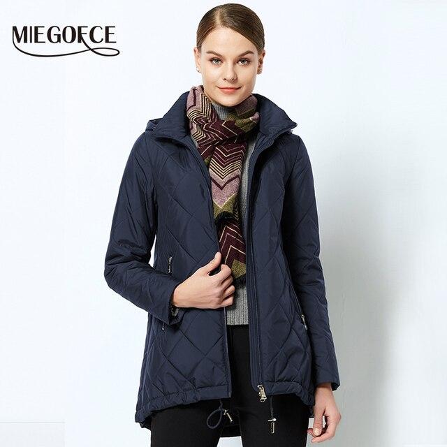 MIEGOFCE 2018 куртка женская весенняя с капюшоном новая весенняя тонкая хлопчатобумажная куртка демисезонная ветрозащитная женская теплая куртка