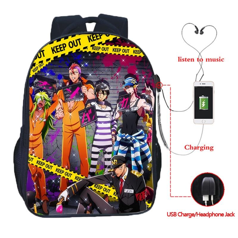 Nanbaka Detentionhouse USB Charge Students Boys Girls School Bags Top Quality USB Charging Schoolbag Beautiful Rucksack