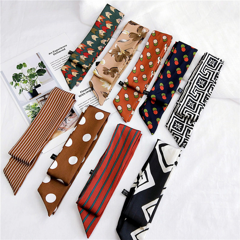 Fashion Print Skinny   Scarf   Women Foulard Kerchief 2018 New Neck   Wraps   Handle Bag Ribbons 90*5cm Small Cute Headband Wholesale