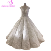 Fashion Waves Ball Gown Wedding Dress Glitters Bling Blings Luxurious Ball Gown Bridal Dress 2019 New Design Arabic Bridal Gown