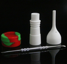 Ceramic Bongs Tool Set with Carb Cap 14mm & 19mm Female Nail Dabber Slicone Jar Dab Container