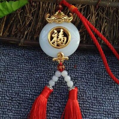 Accessoires de voiture jades incrustés d'or de haute qualité suspendus personnage de bonheur avec collier pendentif amulette de sécurité