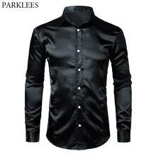 Черная приталенная шелковая мужская рубашка, атласная гладкая мужская рубашка-смокинг, деловая, свадебная, для выпускного, мужская повседневная рубашка, Chemise Homme Xxl