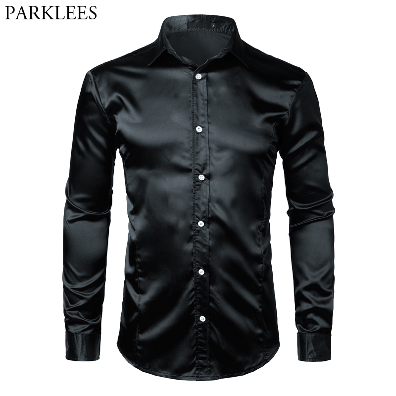 Black Slim Fit Silk Dress Shirt Men 2018 Satin Smooth Men Tuxedo Shirt Business Wedding Prom Male Casual Shirt Chemise Homme Xxl