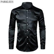 da11c7f6d Camisa de vestir de seda ajustada negra para hombre 2018 camisa de esmoquin  lisa de satén