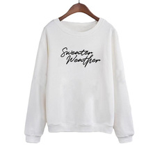 Hoodies Crewneck Pullovers Streetwear Tumblr Slogan Weather Harajuku Saying Autumn Winter Fashion Women Sweatshirt