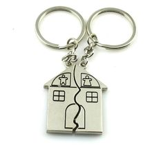 free shipping 100sets/lot new zinc alloy house keychain sets customized wedding party favors and cheap giveaway gifts for guest