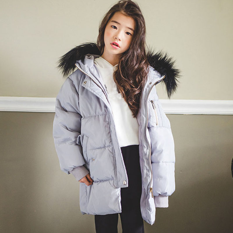 New 2018 Fashion Fur Hooded Long Cotton Jackets For Little Teenage Girls Outerwear Tops Kids Thick Warm Coats Padded Clothing new 2018 fashion fur hooded long cotton jackets for little teenage girls outerwear tops kids thick warm coats padded clothing