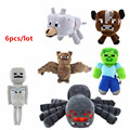 6pcs/lot Minecraft Wholesale Game Plush Stuffed Toys Minecraft Spider Bat Skeleton Wolf Cow Steve Kids Cartoon Toys brinquedos