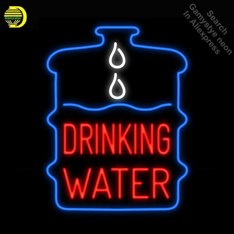 Drinking Water Neon Sign Handmade neon bulb Sign real Glass Tube neon light Recreation Game Room Iconic Sign metal frame|Neon Bulbs & Tubes| |  - title=