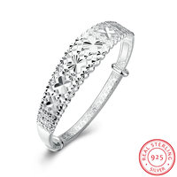 Ann Snow Brand Quality Snowflake Engraved Design Original 925 Sterling Silver Bangle Bracelets For Women B135
