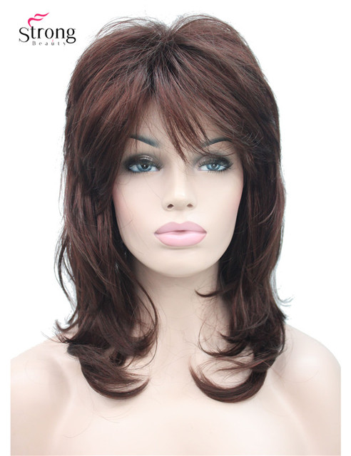 Peruca longa de camadas com ombro escuro, peruca clássica sintética completa escolhas coloridas