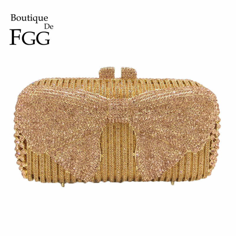 Boutique De FGG elegante con forma De lazo para mujer embragues De Metal bolso De noche Minaudiere bolsos y monederos-in Bolso de noche from Maletas y bolsas    1