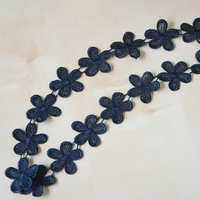 DoreenBeads 13 5m Black Flowers Lace Ribbon Tape Fabric Cotton Webbing Sewing Applique For Garment Hairband