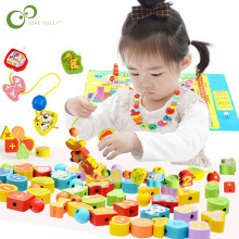 26pcs Wooden Toys Baby DIY Toy Cartoon Fruit Animal Stringing Threading Wooden beads Toy Monterssori Educational for Kids GYH(China)