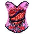 Rosa com Estampa De Cobra Gótico do Steampunk Overbust Corset Bustier Sexy Trajes Burlesque Espartilhos E Corpetes Espartilhos E Bustiers