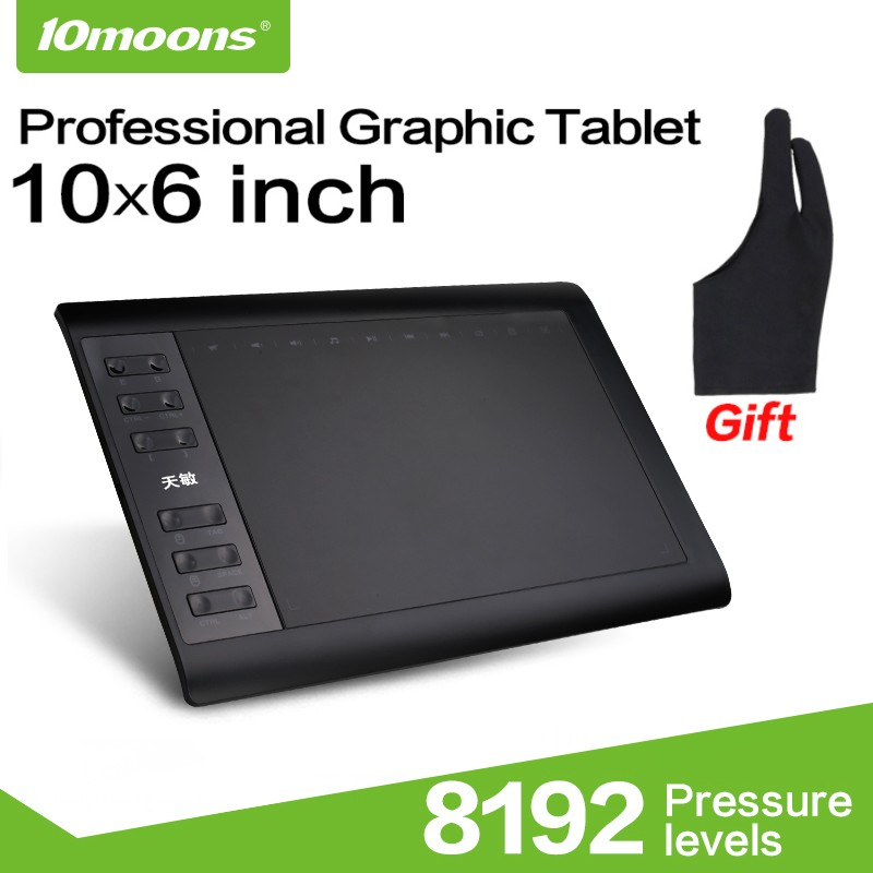 10moons 1060Plus Graphic Tablet 10x6 Inch Digital Drawing Tablet 8192 Levels Battery Free Pen and Glove