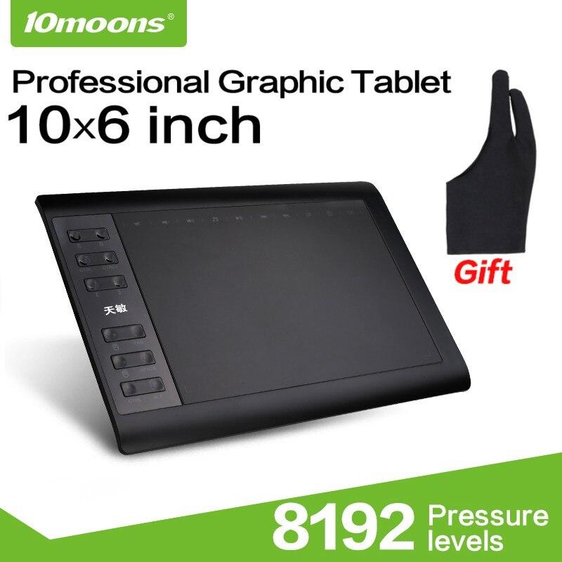 10 Moons 1060 Plus Grafik Tablet 10x6 Inch Digitale Zeichnung Tablet 8192 Ebenen Batterie-freies Stift Und Handschuh Hell Und Durchscheinend Im Aussehen