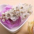 Elegant Rhinestones Crystal White and Red Yarn Flower Pearls Wedding Hair Comb Bridal Headpiece Hair accessories