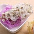 Elegantes diamantes de imitación de cristal blanco y rojo de la flor del hilado perlas pelo de la boda nupcial peine celada accesorios para el cabello
