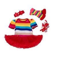 4Pcs Newborn Baby Girls Jumpsuit Romper Headband Rainbow Short Sleeve Infant Bebe Clothing Tutu Dress Outfits Christmas Clothes