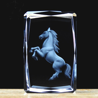 Free shipping, 5*5*8cm Crystal 3D Laser in Cube For Home Decoration, Kid's Birthday Gifts Zodiac Horse With Gift Box