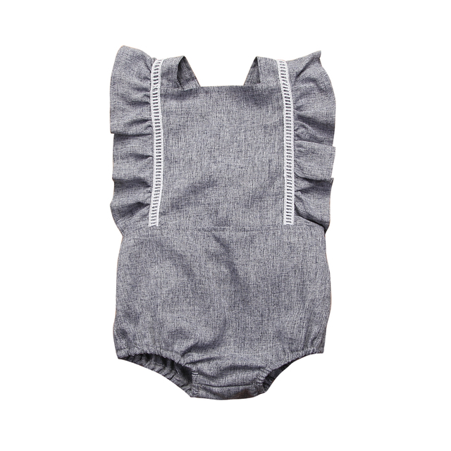Summer 2018 Newborn Kid Baby Girls Backless Ruffles Sleeve Romper Jumpsuit Outfits Sunsuit Clothes
