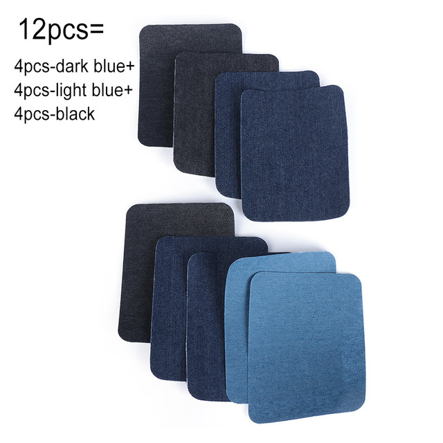 4Pcs Repair Apparel Sewing Applique Fabric Patch Knee Elbow Iron-on Jeans DIY