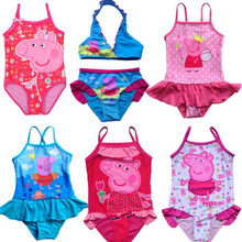 2017 Peppa Pig Swimwear New Girls Kids Fairy Tinkerbell Tankini Beachwear Bikini Swimsuit Dress Bathing Hot Sale Size 3-9Y