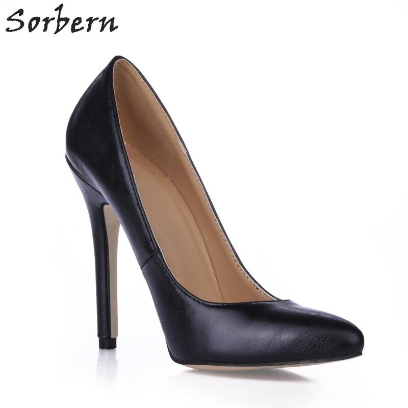 Zapatos De Sorbern Dedo Mujeres custom Talón 2018 Alto Del Bombas Pie Punta Pu Señoras Negro La En Negro Las Color C Desliz Nuevo Baratas xrz56xfw