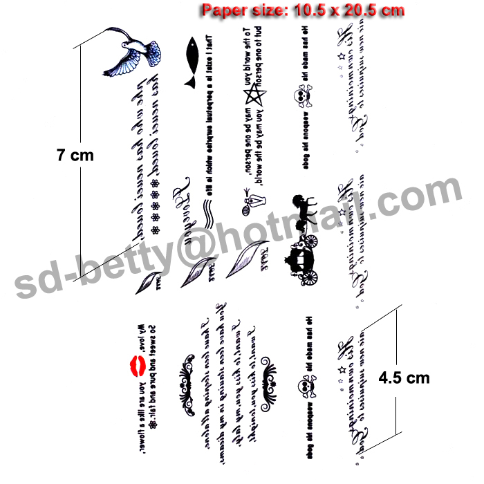 Free ship/5pcs/lot/HM597,temporary tattoos lettering/arm,waist,back,body/English letter,words/waterproof,fake sticker tatooed/CE-in Temporary Tattoos from ...
