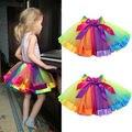 UNIKIDS Kids Children Dancewear Ballet Tutu Skirt Girls Rainbow Bow Tulle Tutus Colorful Tutu Skirt