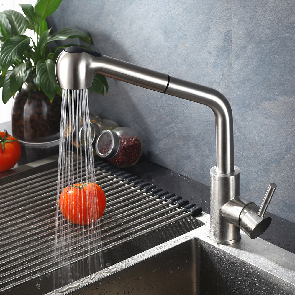 Kitchen Faucet SUS 304 stainless steel Brushed Nickle Pull Out Faucets Spool Mixer Water Tap Hot And Cold Double Control цена