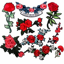 1 Piece Big Patches Red Flower Embroidered Patch 3D Applique DIY Sewing Stickers Wedding Clothing Repair Fabric Sticker
