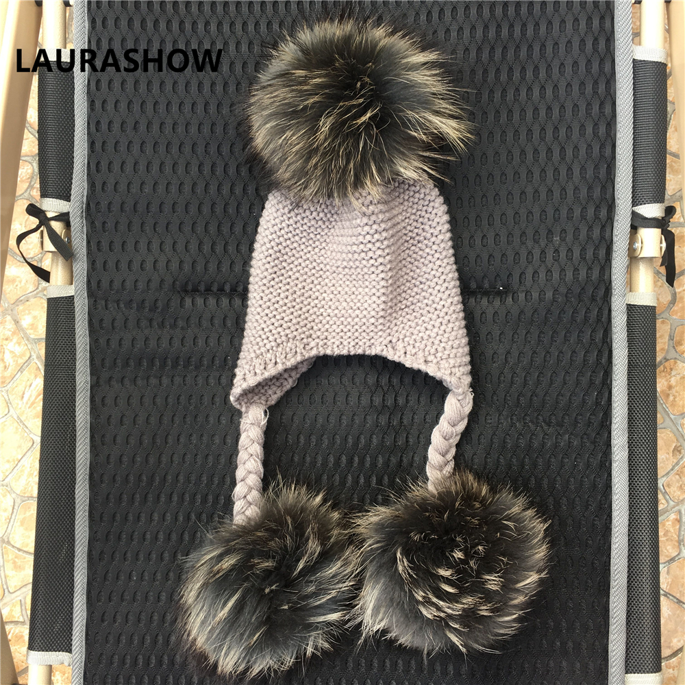 Image 3 - LAURASHOW Winter Kids Real Mink Raccoon Fur Ball Pompoms Hat Children Knitted Girls Boys Warm Cap Baby Beanies Wool-in Men's Skullies & Beanies from Apparel Accessories