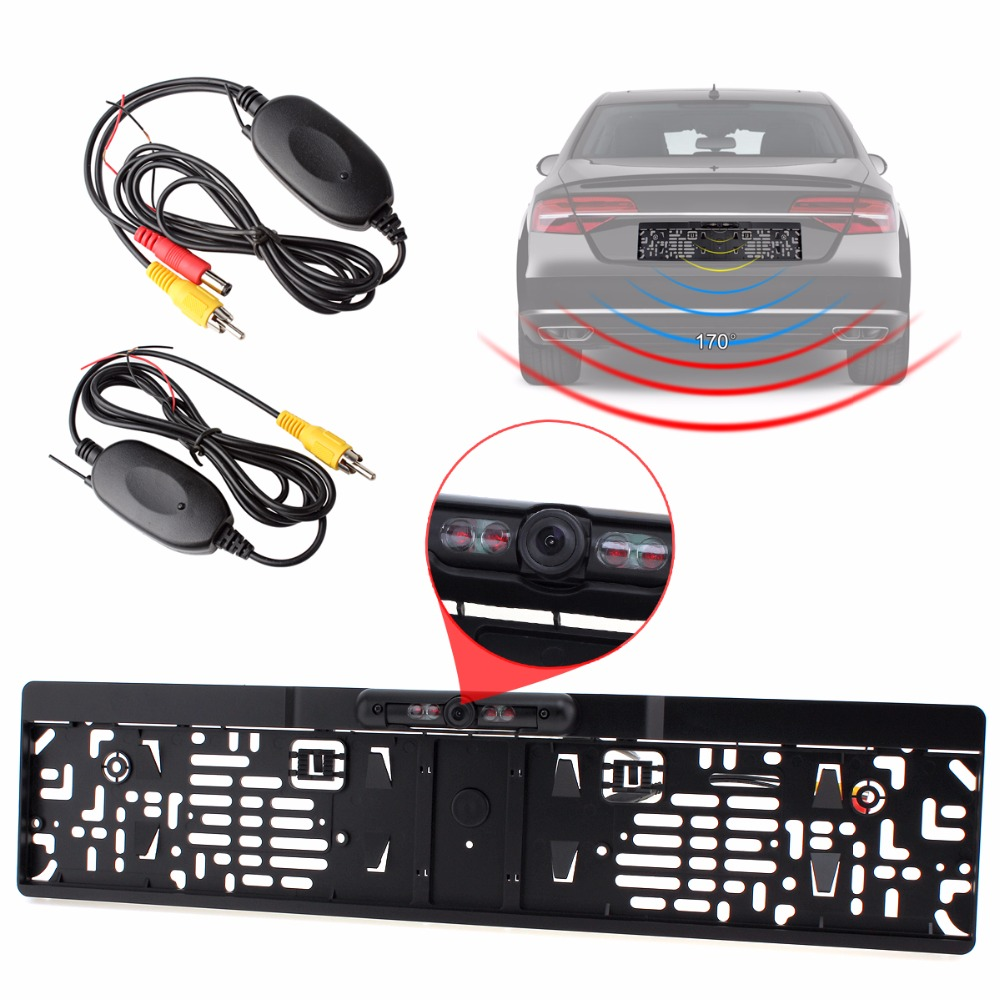 IR Night Vision EU Car License Plate Frame Rear View Back Reverse Camera 2 4G Wireless