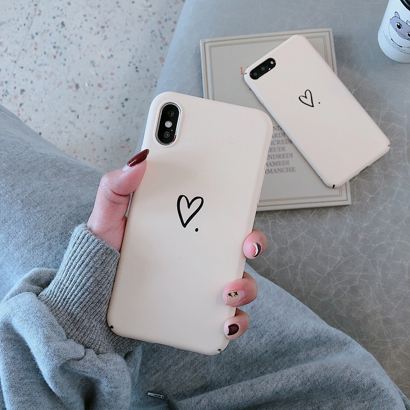 Coque Capa For iphone 7 8 plus 6 6s plus Simple Love Heart Hard PC Phone Case Back Cover For iPhone XS Max XR X 8 Plus Fundas Pakistan